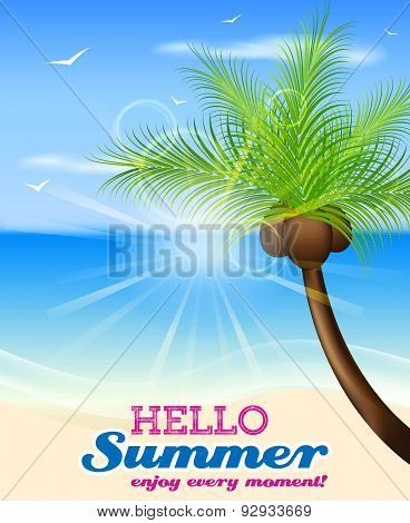 Hello summer vector background with palm tree and seaside