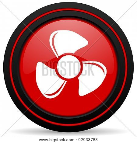 fan red glossy web icon