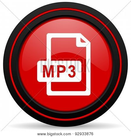 mp3 file red glossy web icon