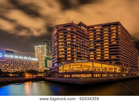 Hong Kong - JULY 27, 2014: Intercontinental Hotel on July 27 in China, Hong Kong. Intercontinental Hotel is a luxury hotel in Hong Kong