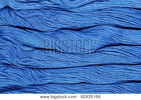 Blue Skeins Of Floss As Background Texture