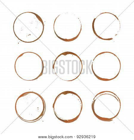 Coffee stain circles set