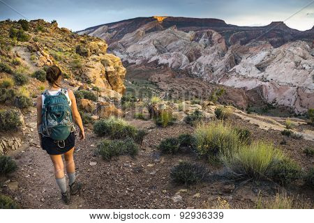 Girl Hiker In A Brimhall Natural Bridge Trail Capitol Reef National Park