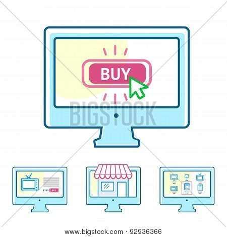 Online shopping concept set