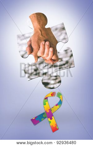 Happy senior couple holding hands against purple vignette