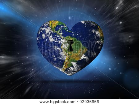 Heart shaped earth against outer space