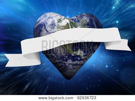 Heart shaped earth with scroll against outer space