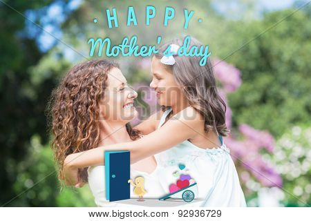 Chick with wheelbarrow of hearts against happy mother and daughter smiling at each other
