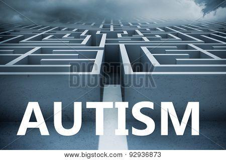 autism against big 3d maze under clouds