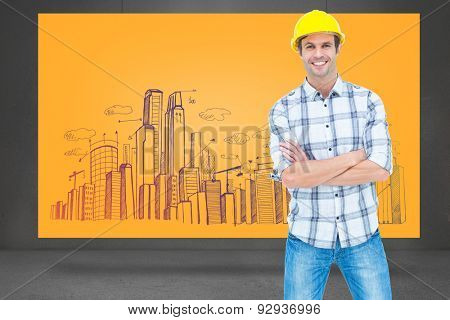 Architect standing over white background against composite image of orange card