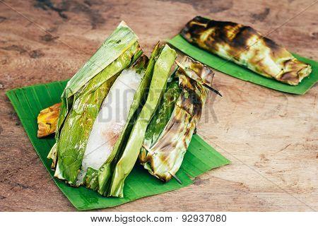 Thai dessert on wooden background