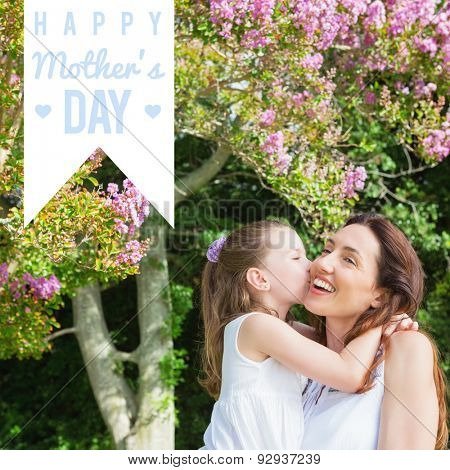 mothers day greeting against mother and daughter spending time