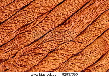 Brown Skeins Of Floss As Background Texture