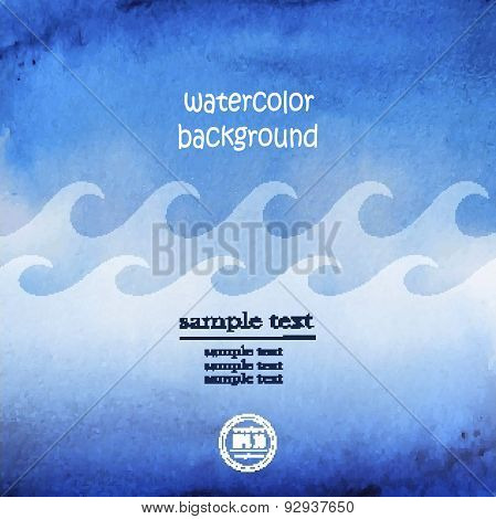 Seascape Vector. Abstract Wave Blue Watercolor Background