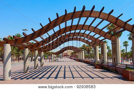 BARCELONA, SPAIN . Walking street Passeig de Colom.