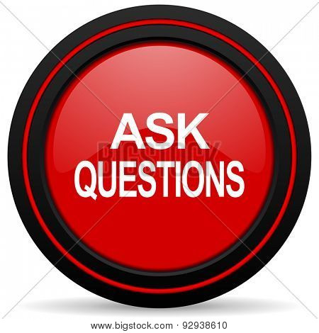 ask questions red glossy web icon