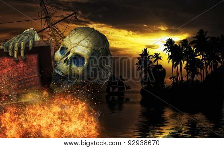 Pirate skeleton in the caribbeans