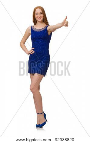 Pretty red hair girl in blue dress isolated on white