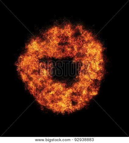 Ring of fire over black background