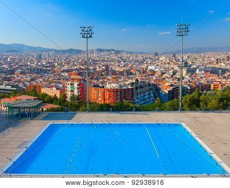 Barcelona city Olympic swimming pool. Montjuic mountain. Spain.