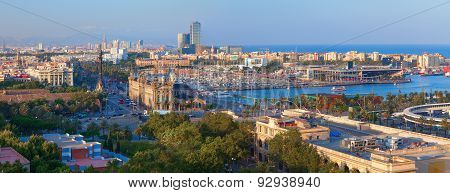 Panoramic view of Barcelona city from Montjuic mountain.