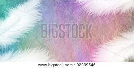 White Feathers on Rainbow Stone Effect Background