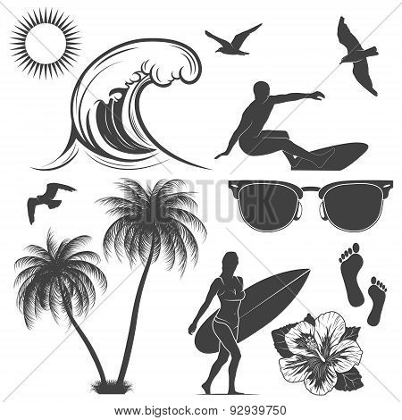 Set Of Surfing Design Elements