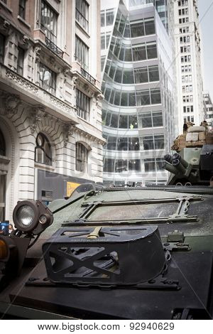 NEW YORK - MAY 21 2015: A US Marine Corp military tank parked on the street during a demonstration for the public at Bryant Park for Marine Day during Fleet Week NY.