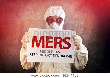 Medical Scientist Holding Mers Banner