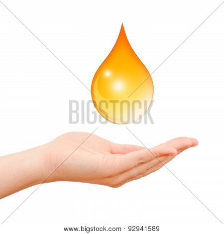 Hand care symbol with oil drop