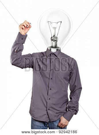 lamp head Idea concept. Man writing something on glass board with marker