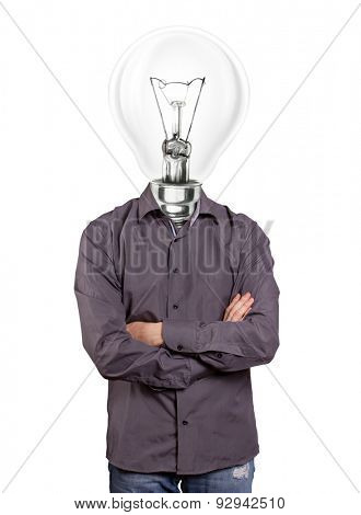 lamp head man, looking on camera, with folded hands