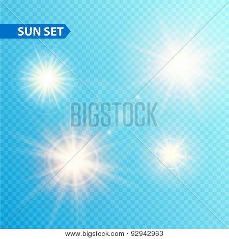 Sun burst collection. Vector illustration