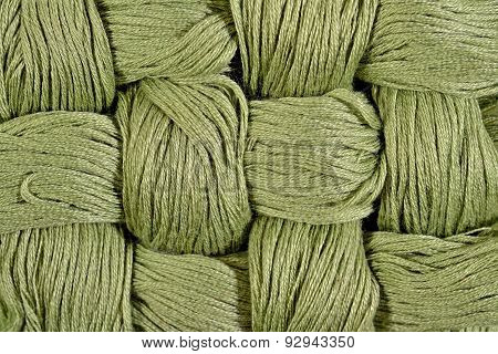 Green Twisted Skeins Of Floss As Background Texture