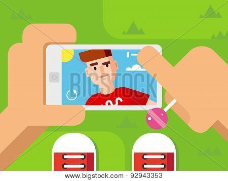 Guy Makes Selfie on Smart Phone Flat Design