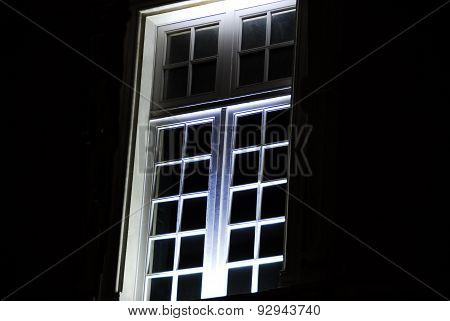 Mullioned windows at night