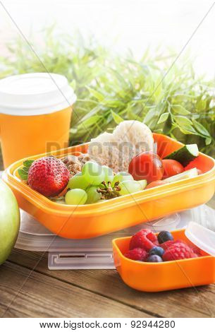 Lunch Box With Sandwich, Cookies, Veggies And Fruits