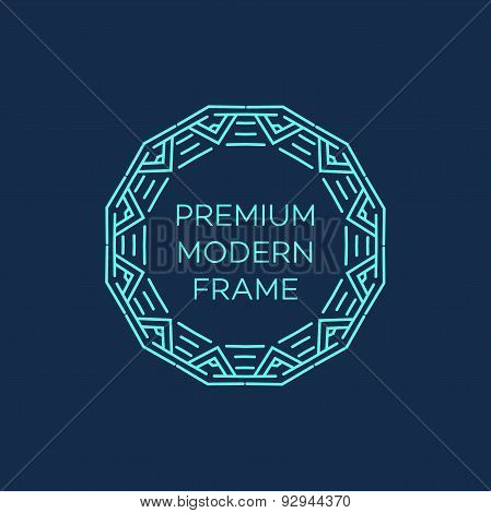 Vector geometric frame in mono line style. Monogram design element. Vector illustration