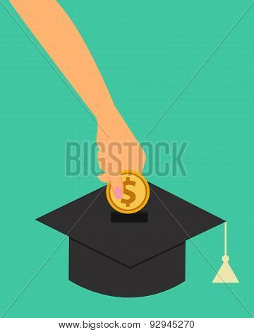 Investment in education. Woman putting money in a coin box as a graduate cap. Vector illustration