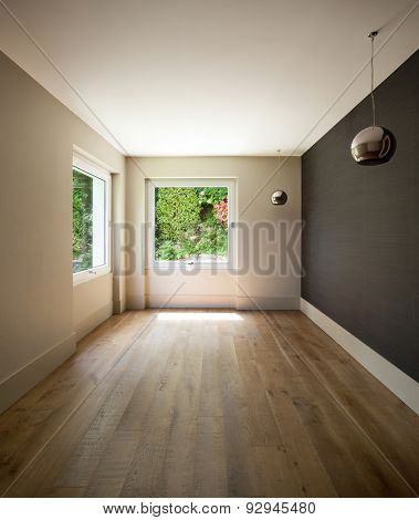 Architecture, interior of empty room with vintage chandeliers, parquet floor