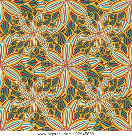 Seamless Pattern With Colorful Flower Chrysanthemum