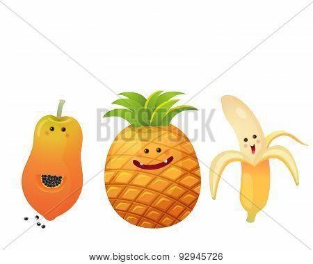 Cute Fruits-peeled Banana, Pine Apple, Papaya