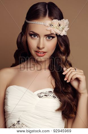 Beautiful Young Girl With Dark Hair With Flower's Headband