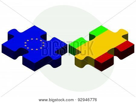 European Union And Mali Flags In Puzzle
