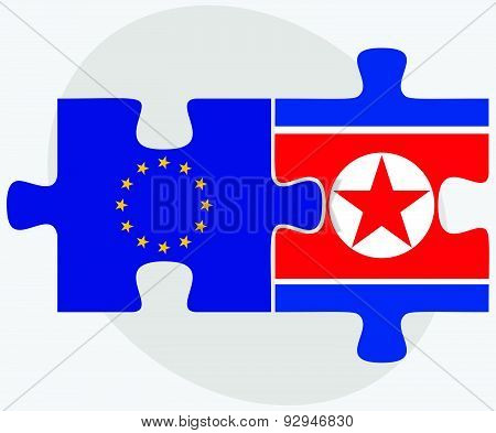 European Union And Korea-north Flags In Puzzle