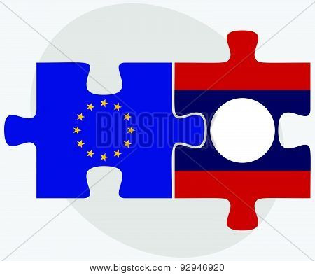 European Union And Laos Flags In Puzzle