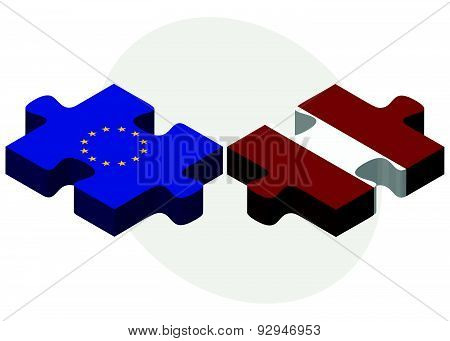 European Union And Latvia Flags In Puzzle