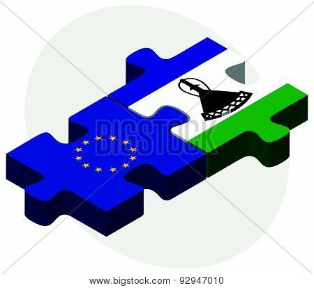 European Union And Lesotho Flags In Puzzle
