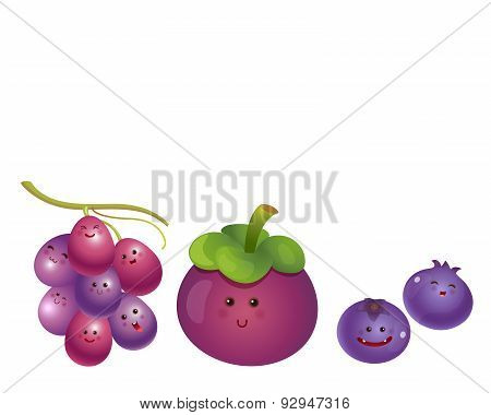 Cute Fruits-grape, Mangosteen, Blueberry