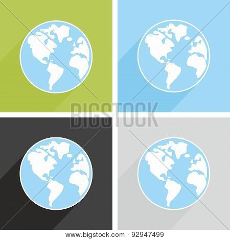 Planet Earth vector sign with long shadow